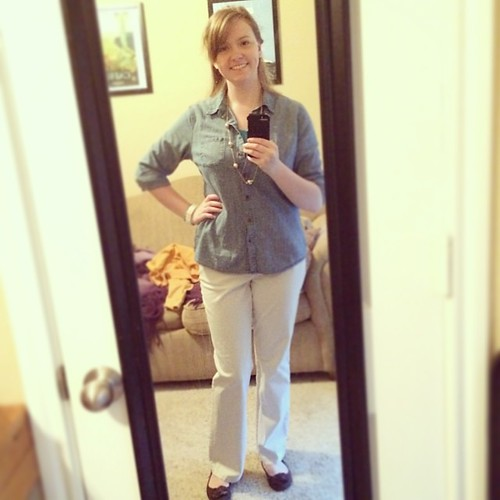 Chambray on casual Fribsday! #ootd #sharpdressedlady Of course, it may rain today and make these pants a bad idea ;)