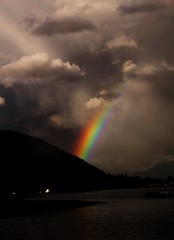 cloud, rainbow, evening, darkness, sky, dusk, dawn,