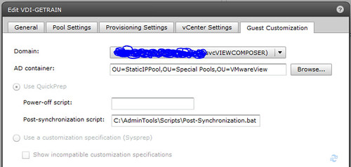 VMware View Post-Synchronization