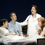 Whizzer (Romain Frugé), Marvin (Geoffrey Nauffts), Charlotte (Anne L. Nathan) and Cordelia (Kate Baldwin) marvel at how they came to be lovers and friends  in the Huntington Theatre Company's production of