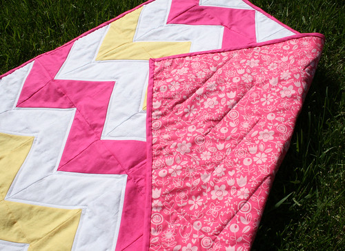 Pink & Yellow Chevron Quilt 2