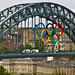 Olympic Rings over the Tyne Bridge