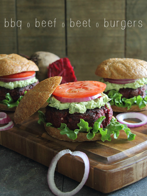 BBQ beef and beet burgers topped with avocado and goat cheese