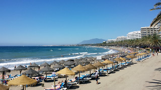 Image of Playa de la Fontanilla. beach day clear costadelsol marbella