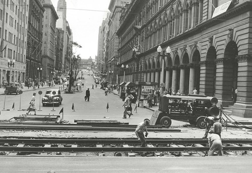 Tram tracks at Martin Place, Sydney