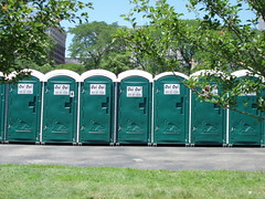 public toilet, portable toilet, city,