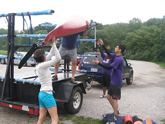 Dr. McGowan and the students unloading kayaks