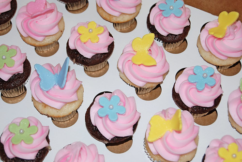 2nd birthday mini cupcakes - flowers and butterflies