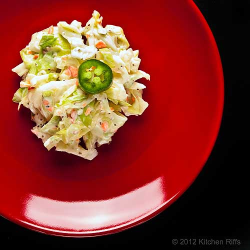 Creamy Coleslaw on Red Plate, Overhead View