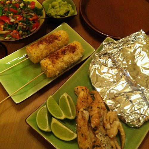 Fish tacos with cheesy chargrilled corn. Good stuff!