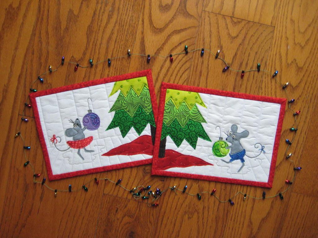 Pair of Mug Rugs, Christmas Tree Mice