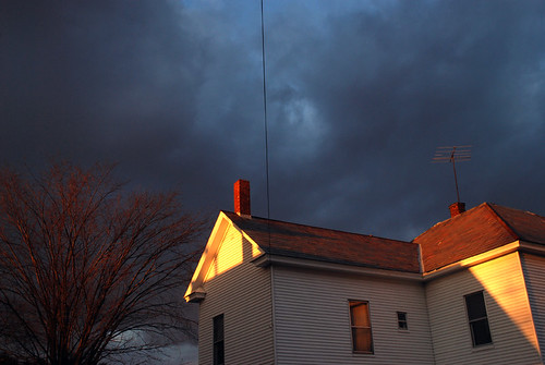 autumn houses light sunset sky clouds vermont middlebury