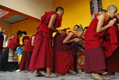 Delighted to have the blessing a nun bows humbly, with Tibetan Budhist nuns are bestowed the Amitayus - Hayagriva Long Life Blessing, Tharlam Monastery Stage, Boudha, Kathmandu, Nepal