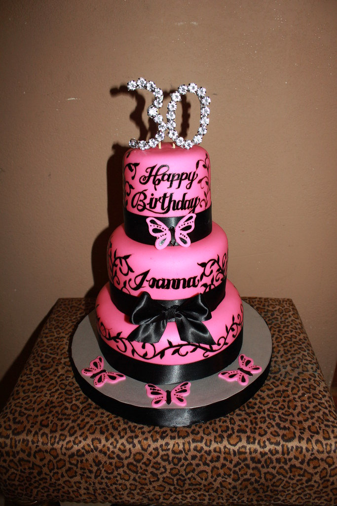 Pink Black 30th Birthday Cake