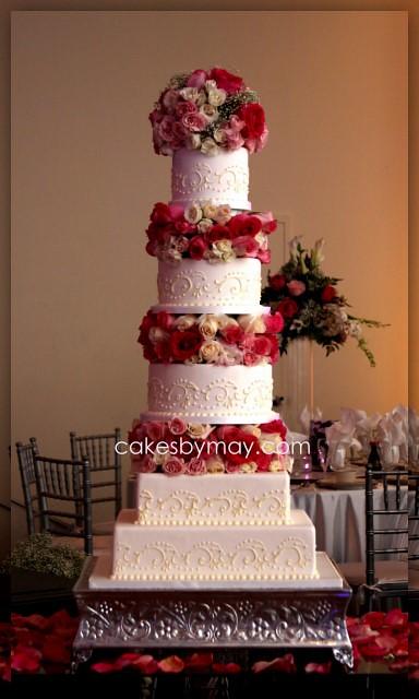 Putting Flowers Between Cake Tiers