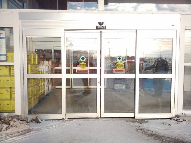 New automatic sliding doors entrance at the real canadia