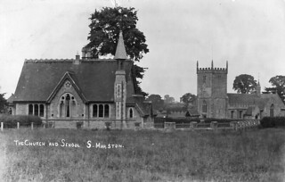 1905: The Church & School, South Marston (Postcard)