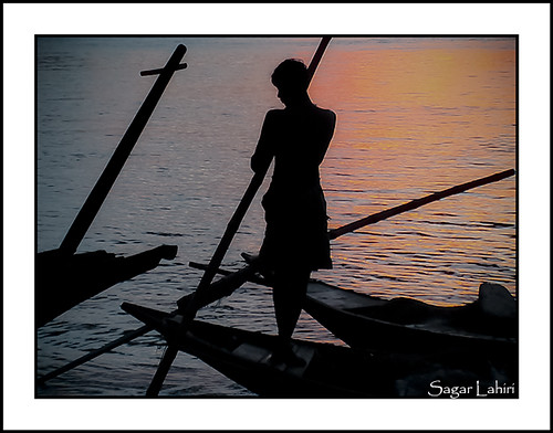 Sunset Boat sailor