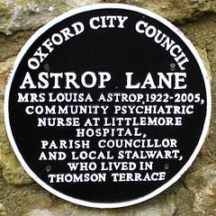 Photo of Louisa Astrop black plaque