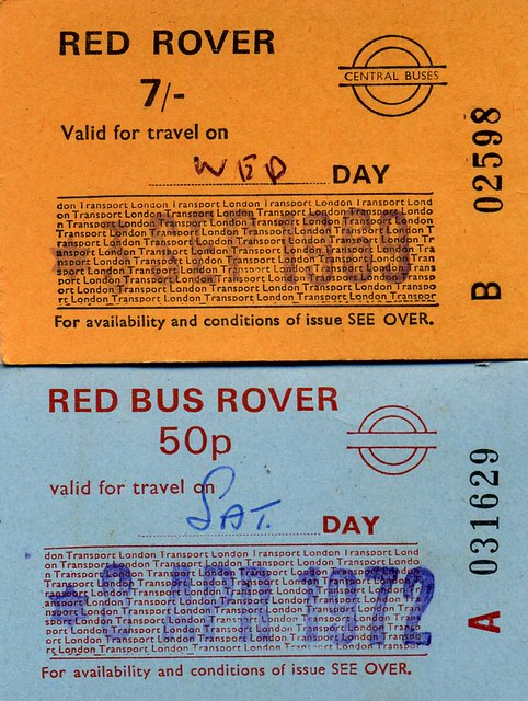 London Transport Red Rover Tickets, 1969,1972.