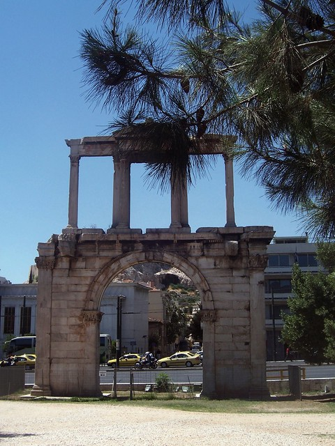 Arch of Hadrian, southeast side (this is the city of Hadrian, and not of Theseus), Athens