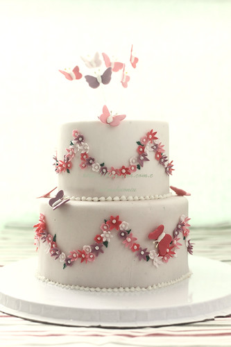 butterflies and flowers fondant cake 2 tiers - a photo on ...