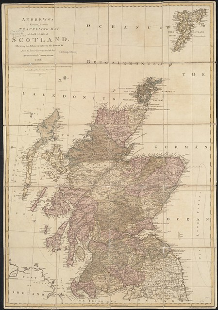 Andrews's new and accurate travelling map of the roads of Scotland, shewing the distances between the towns &c.
