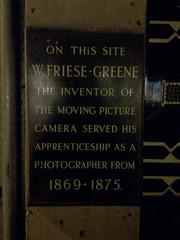Photo of William Friese-Greene black plaque