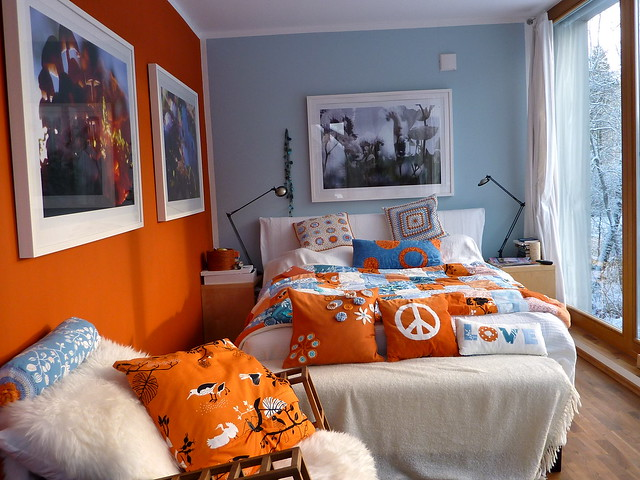bedroom in orange white blue and snow outside flickr photo sharing