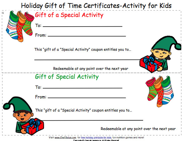 Print Gift Coupon Certificate- Christmas Card for Kids to Give ...