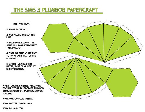 The Sims 3 Fan Plumbob Papercraft Beyond Sims