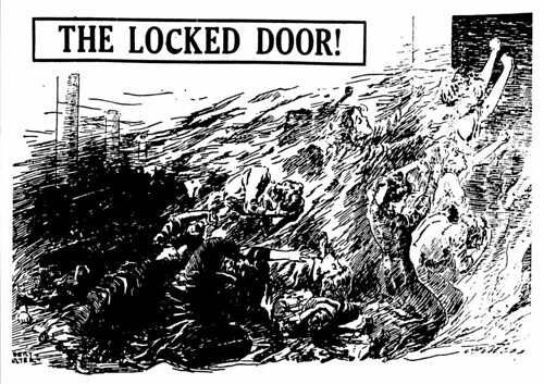 "Drawing ""The Locked Door!"" refers to the Triangle fire and depicts young women throwing themselves against a locked door in an attempt to escape the flames."
