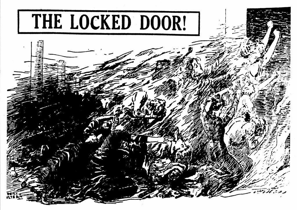 """Drawing """"The Locked Door!"""" refers to the Triangle fire and ... Triangle Shirtwaist Fire Map"""