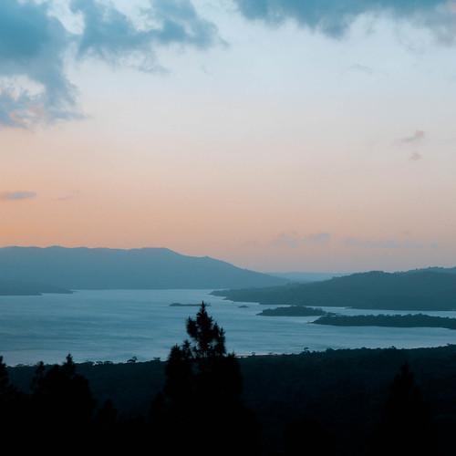 mist lake sunrise landscape dawn costarica arenal therabbitburrow