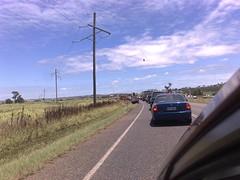 Traffic jam due to road damage