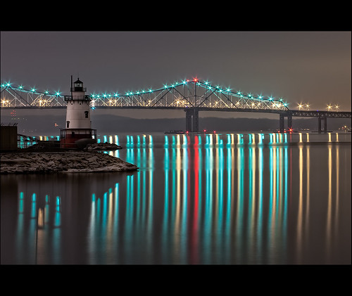 new york longexposure bridge light lighthouse ny reflection water night river stars lights sleepy hudson hollow tarrytown prettyflyforawhiteguy tappenzee
