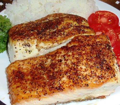 Edible Organic Green Tea Pan Seared Salmon