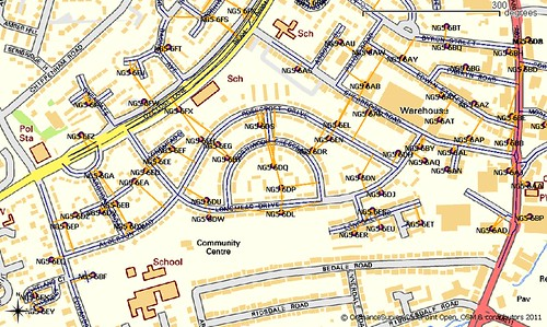 NG5 6xx Postcodes and Road line data