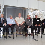 Two heads of the computer history museum with Slug, Al Alcorn, Donald Knuth, Steve Wozniak, Max Mathews and Francis Allen