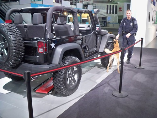 Bomb sniffing dog with COD Jeep by lee.ekstrom
