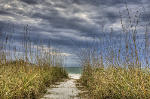 ocean storm beach water rain clouds sand florida path tropical naples thunder hdr seaoats bonitasprings stormgrass loverskey photomatix loverskeystatepark photomatix4