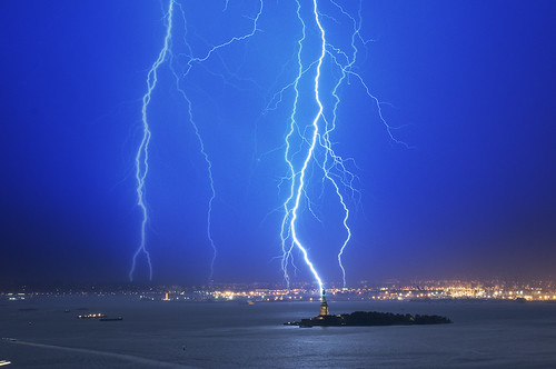Composite image of lightning strikes over a five minute period.