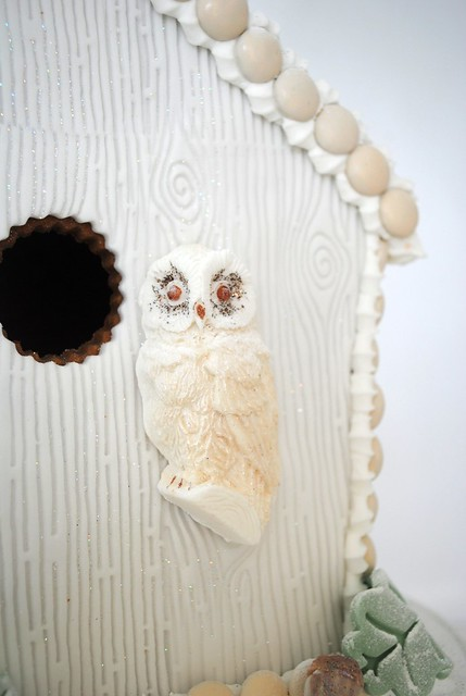 Glittered Owl on gingerbread bird house