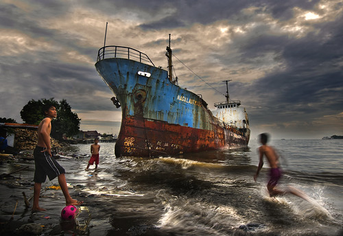 boy art abandoned ball indonesia boat kid ship soccer south documentary sulawesi celebes makassar