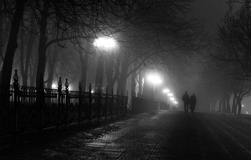 Night city fog