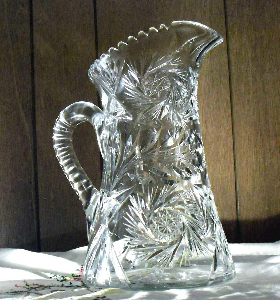 Large antique cut glass pitcher abp