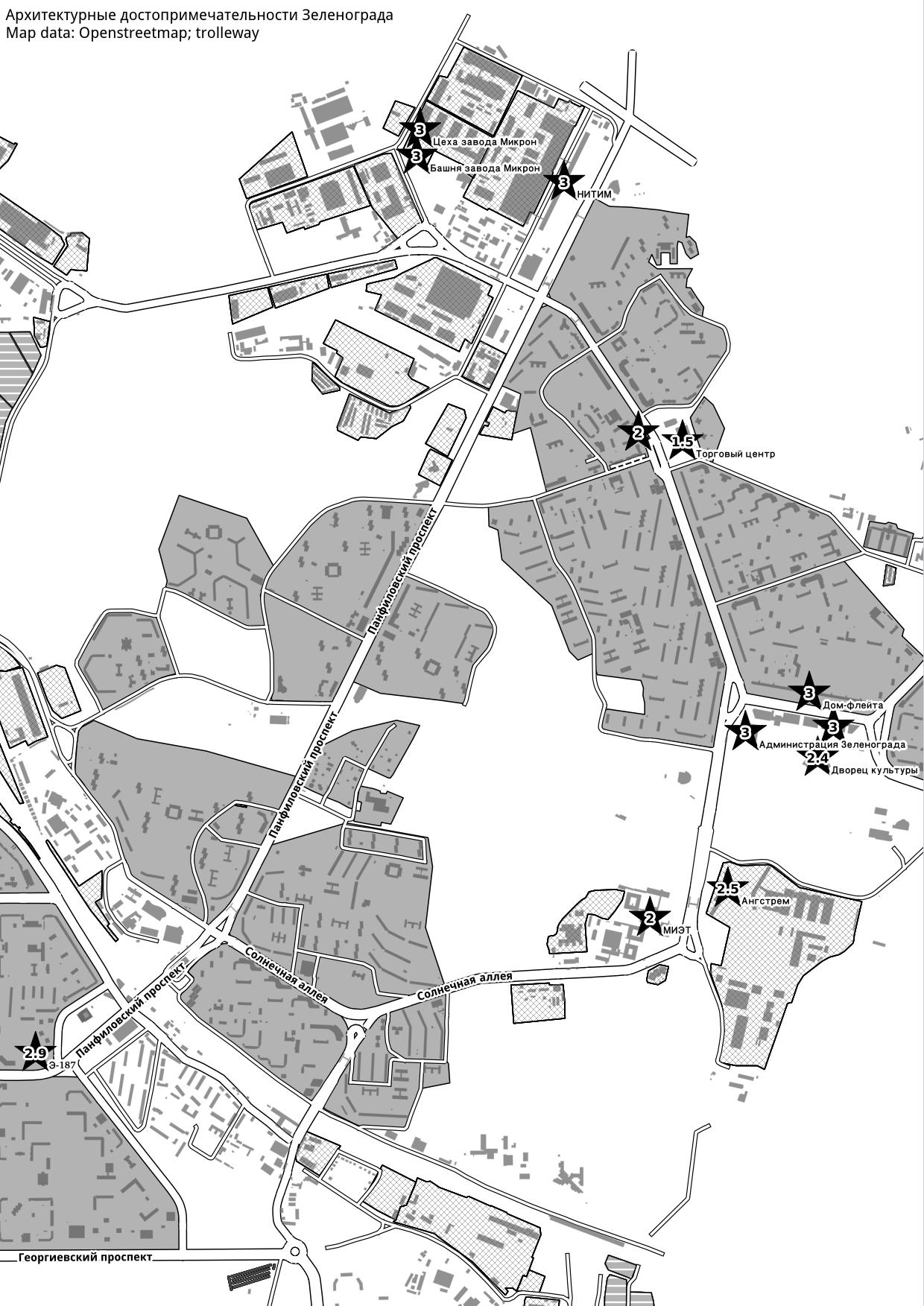 Карта архитектурных достопримечательностей Зеленограда