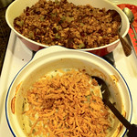 Stuffing and Green Bean Casserole