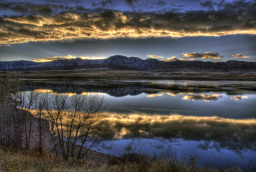trees sunset sky mountain lake cold reflection ice beach water clouds photo colorado image picture denver chatfield hdr littleton photomatix 201011