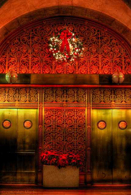 Chicago City Hall elevators in Christmas red